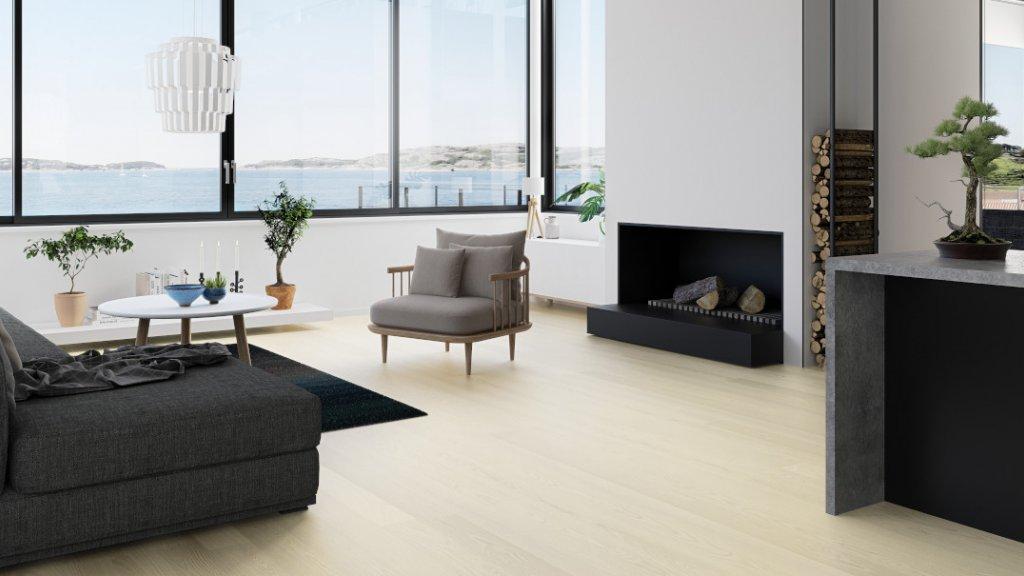 Dřevěná podlaha Boen Dub Andante bílý matný lak 1